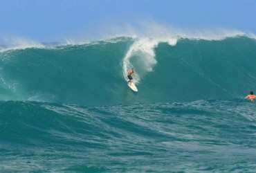 surfing outside haleiwa